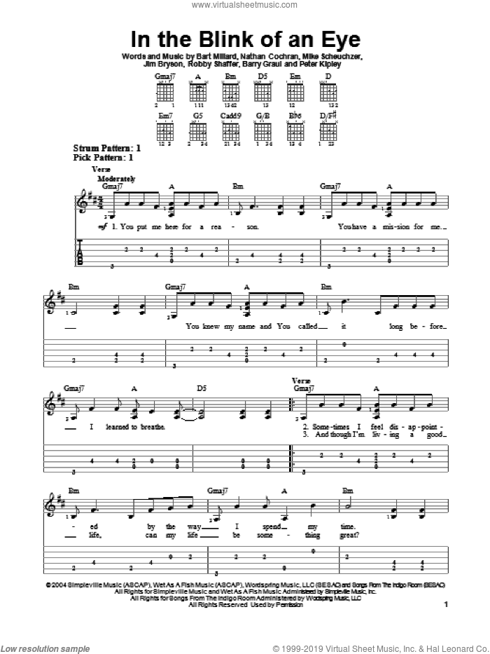 In The Blink Of An Eye sheet music for guitar solo (easy tablature) by Robby Shaffer, Barry Graul, Bart Millard, Jim Bryson, MercyMe, Mike Scheuchzer and Peter Kipley. Score Image Preview.
