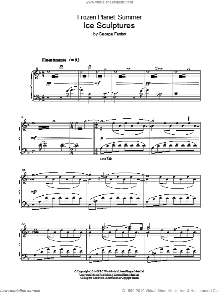 Frozen Planet, Ice Sculptures sheet music for piano solo by George Fenton, intermediate skill level