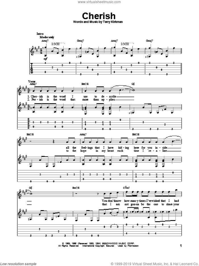 Cherish sheet music for guitar solo by The Association