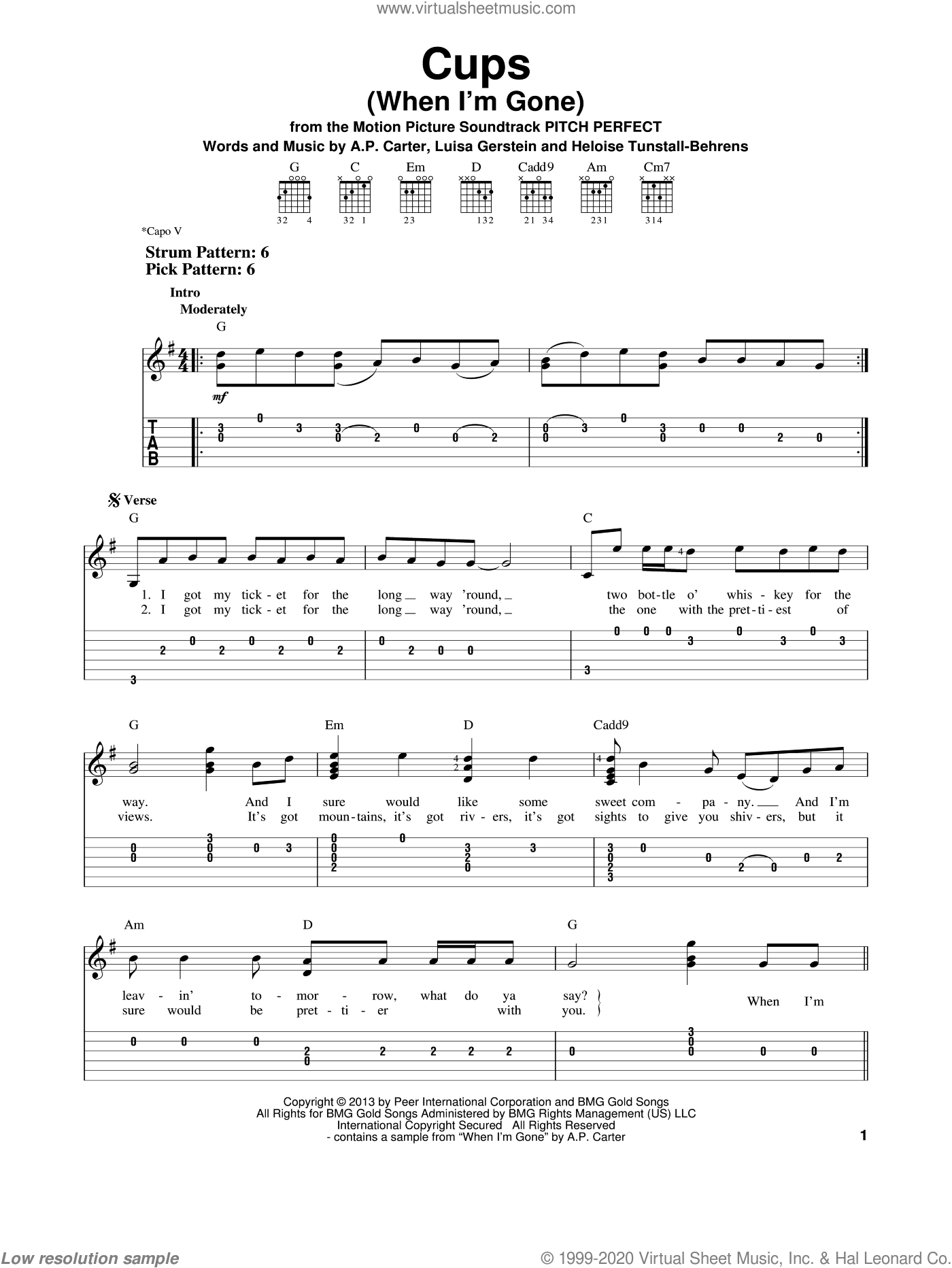 Cups (When I'm Gone) sheet music for guitar solo (easy tablature) by Anna Kendrick. Score Image Preview.