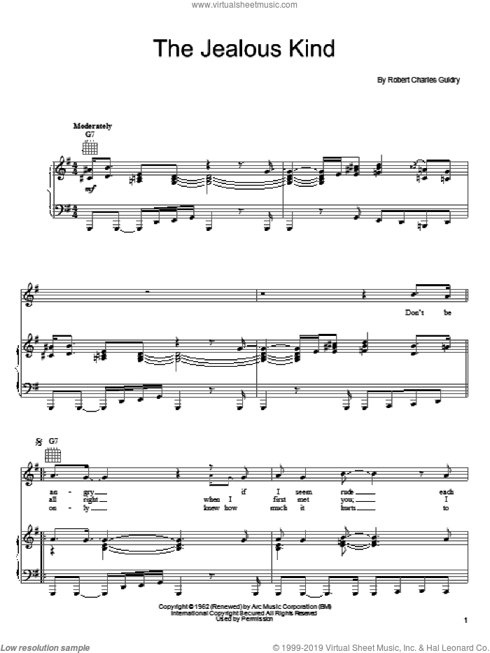 The Jealous Kind sheet music for voice, piano or guitar by Joe Cocker and Robert Charles Guidry, intermediate skill level