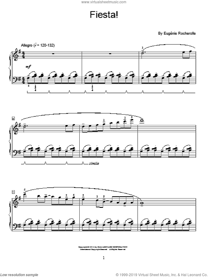 Fiesta! sheet music for piano solo (elementary) by Eugenie Rocherolle, beginner piano (elementary)