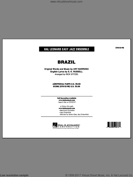 Brazil (COMPLETE) sheet music for jazz band by Rick Stitzel