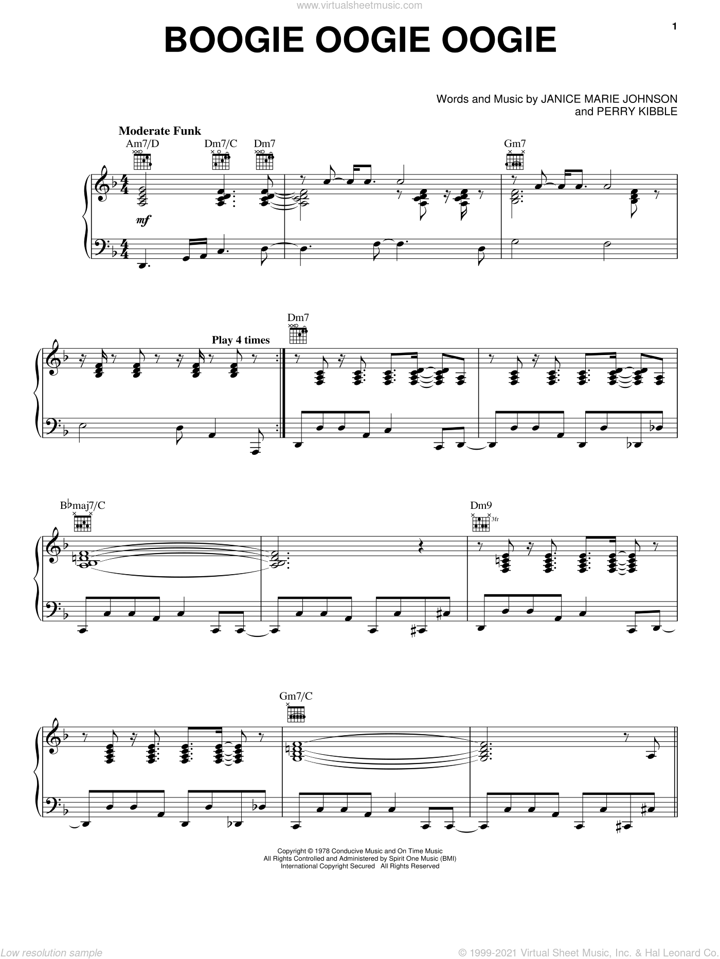 Boogie Oogie Oogie sheet music for voice, piano or guitar by A Taste Of Honey, Janice Marie Johnson and Perry Kibble, intermediate skill level