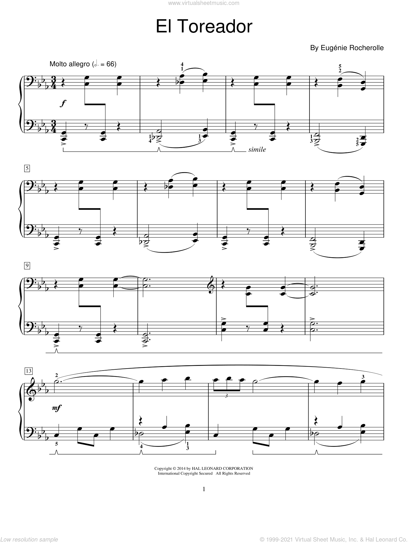 El Toreador sheet music for piano solo (elementary) by Eugenie Rocherolle. Score Image Preview.