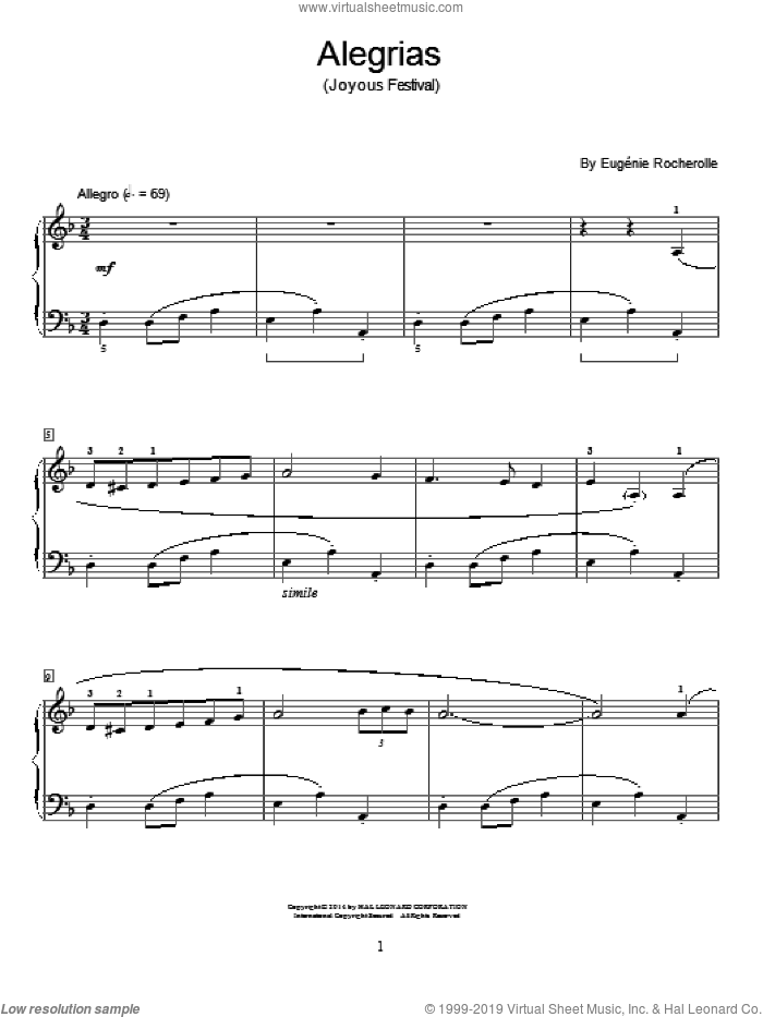 Alegrias sheet music for piano solo (elementary) by Eugenie Rocherolle