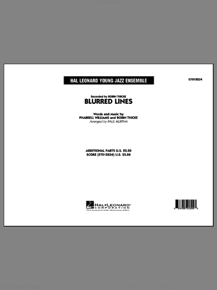 Blurred Lines (COMPLETE) sheet music for jazz band by Paul Murtha, Pharrell Williams and Robin Thicke, intermediate skill level