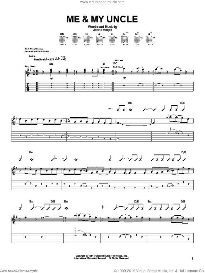Me and My Uncle sheet music for guitar (tablature) by John Denver, intermediate guitar (tablature). Score Image Preview.