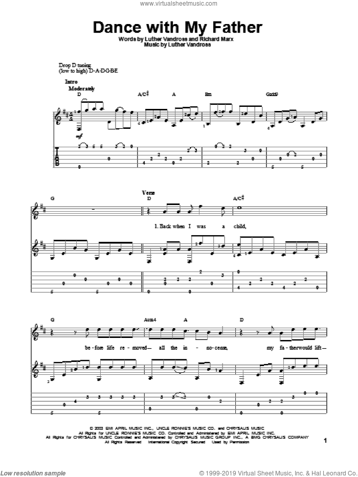 Dance With My Father sheet music for guitar solo by Luther Vandross and Richard Marx. Score Image Preview.