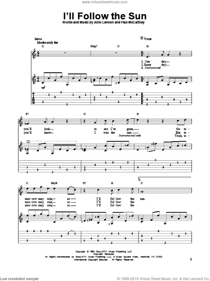 I'll Follow The Sun sheet music for guitar solo by The Beatles, John Lennon and Paul McCartney, intermediate guitar. Score Image Preview.