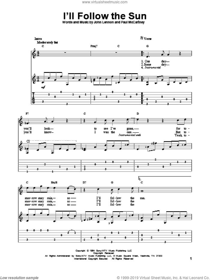 I'll Follow The Sun sheet music for guitar solo by The Beatles, John Lennon and Paul McCartney, intermediate skill level