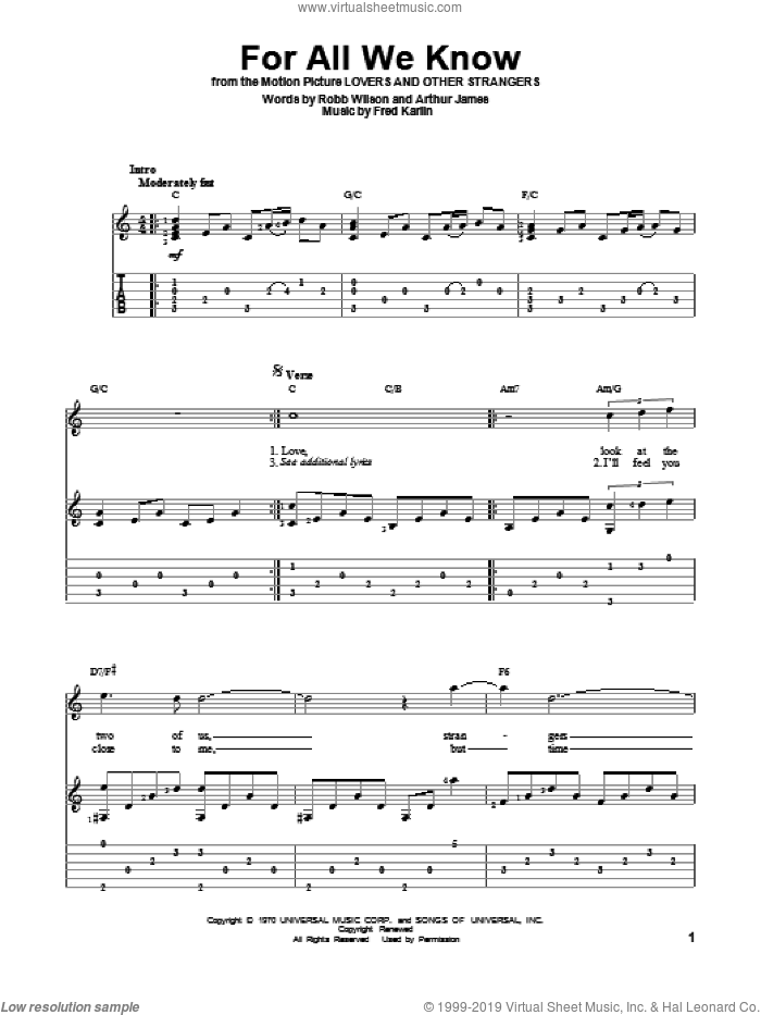 For All We Know sheet music for guitar solo by Carpenters, Fred Karlin, James Griffin and Robb Royer, intermediate