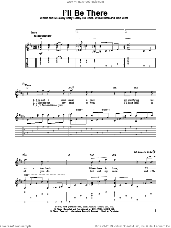 I'll Be There sheet music for guitar solo by Willie Hutch, Berry Gordy, Hal Davis, Mariah Carey and The Jackson 5. Score Image Preview.