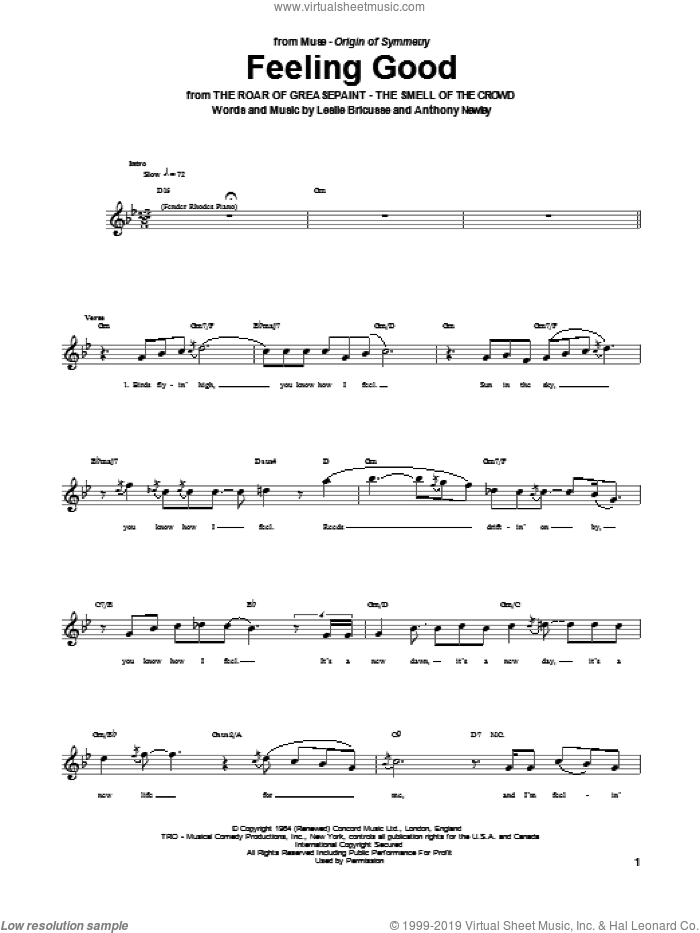 Feeling Good sheet music for bass (tablature) (bass guitar) by Muse, Anthony Newley, Leslie Bricusse and Michael Buble. Score Image Preview.