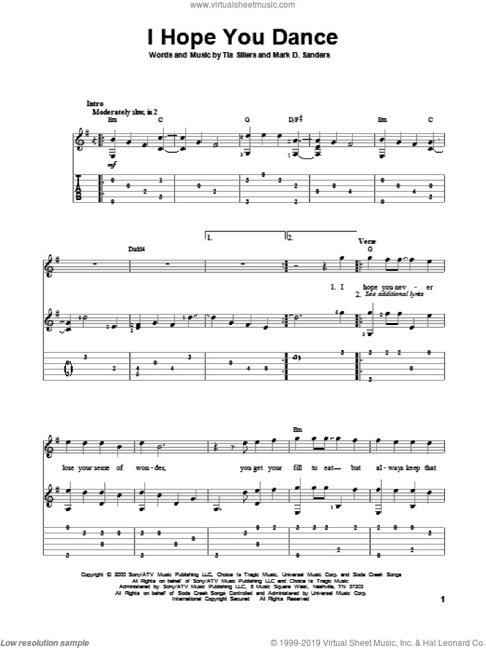 I Hope You Dance sheet music for guitar solo by Lee Ann Womack with Sons of the Desert. Score Image Preview.