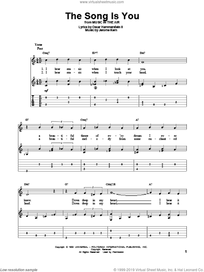 The Song Is You sheet music for guitar solo by Frank Sinatra, Jerome Kern and Oscar II Hammerstein. Score Image Preview.