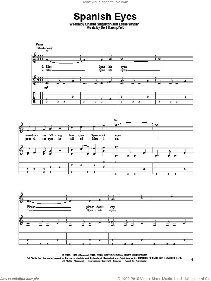 Spanish Eyes sheet music for guitar solo by Eddie Snyder, Bert Kaempfert and Charles Singleton. Score Image Preview.