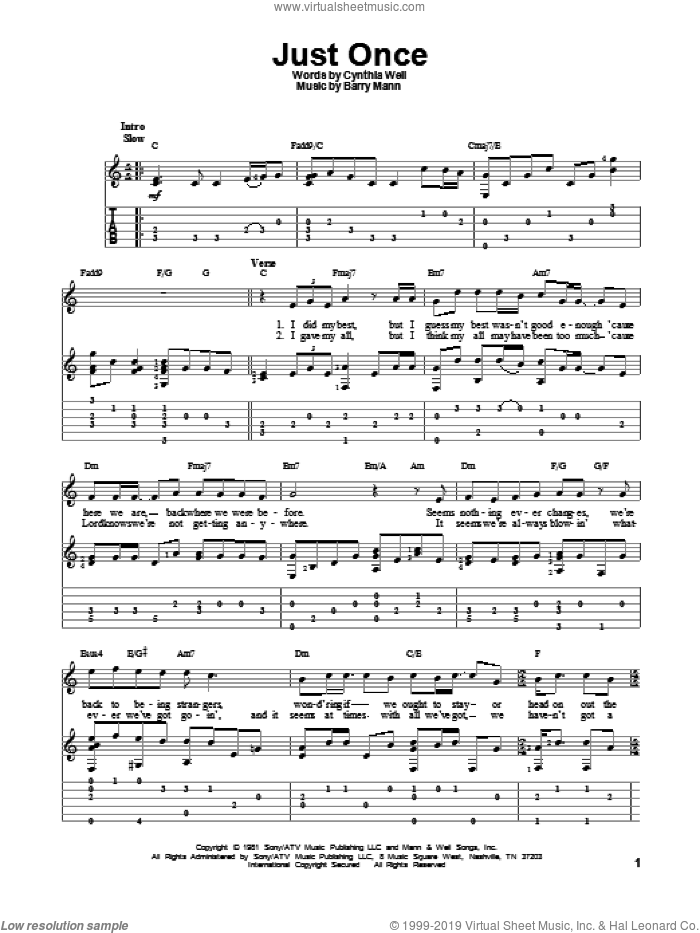Just Once sheet music for guitar solo by Quincy Jones featuring James Ingram, intermediate skill level