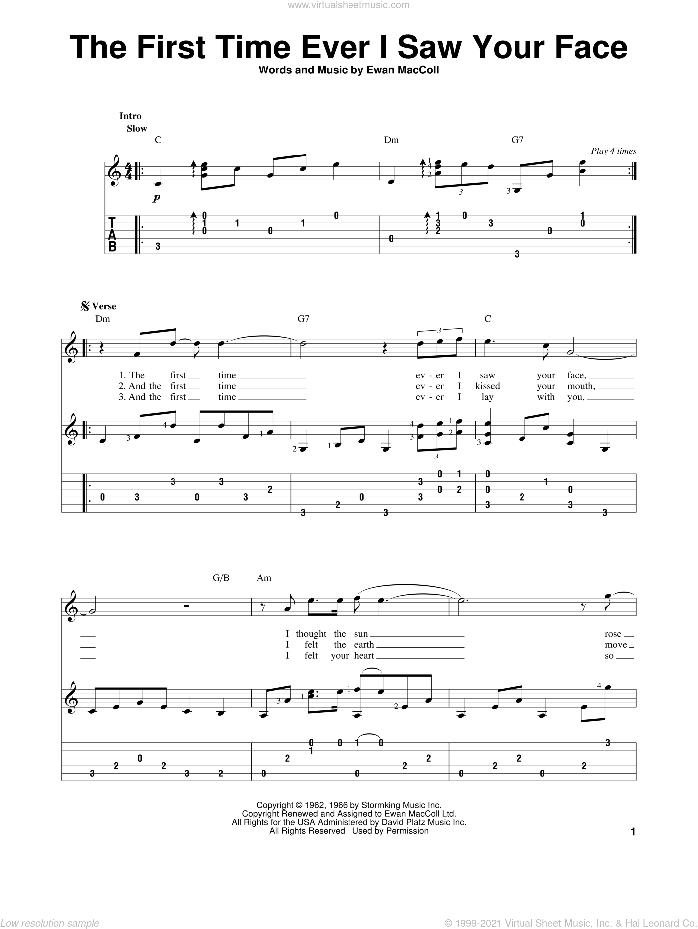 The First Time Ever I Saw Your Face sheet music for guitar solo by Roberta Flack and Ewan MacColl, intermediate skill level