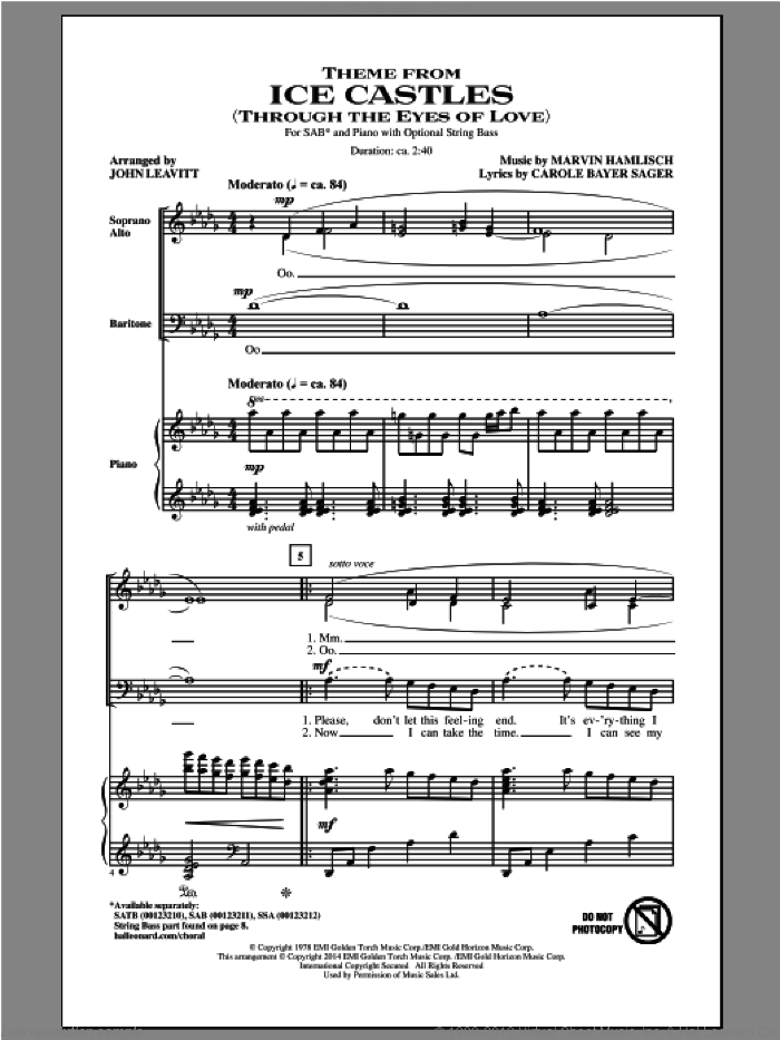 Theme From Ice Castles (Through The Eyes Of Love) sheet music for choir (SAB: soprano, alto, bass) by John Leavitt, Carole Bayer Sager and Marvin Hamlisch, intermediate