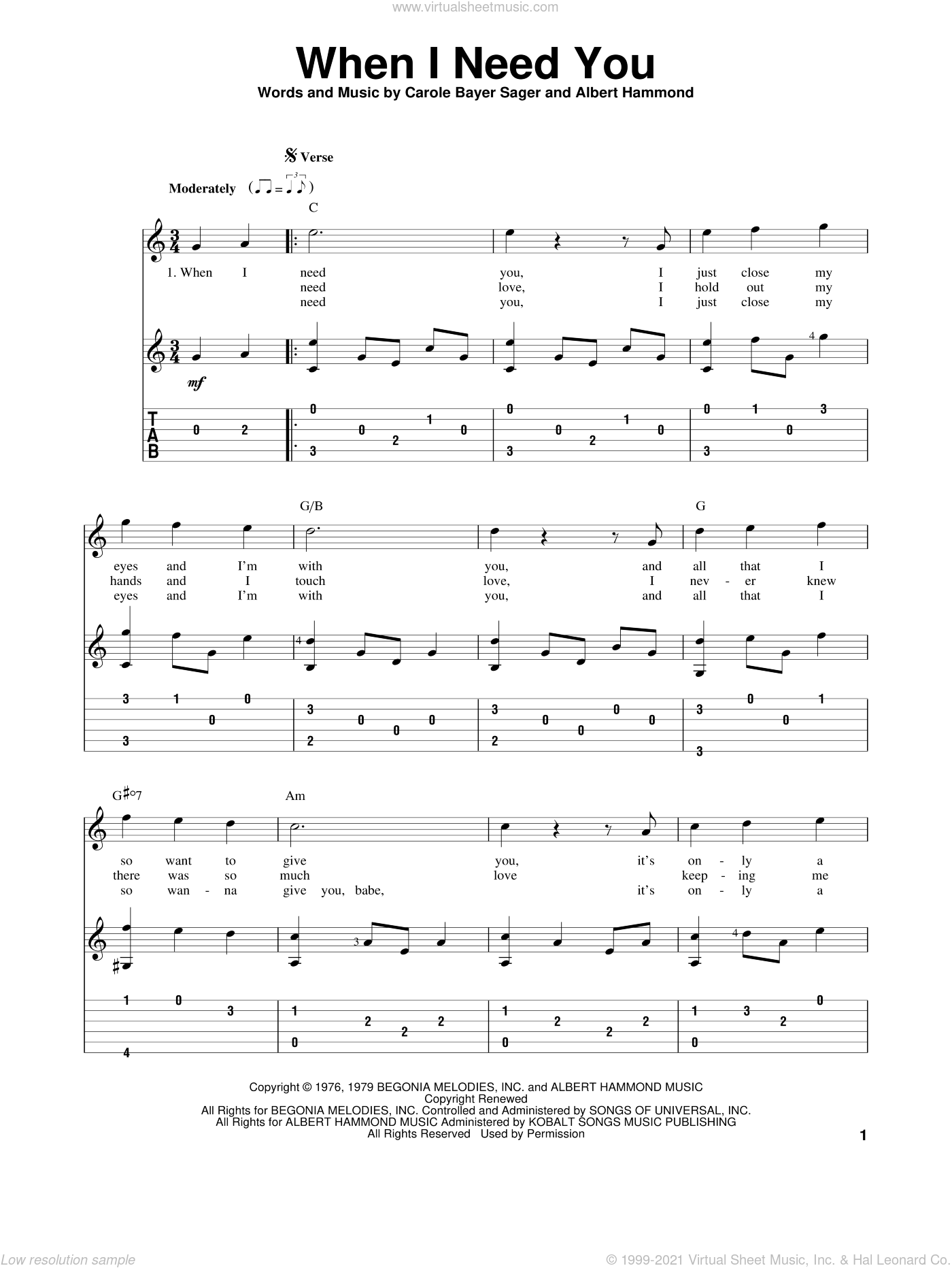 When I Need You sheet music for guitar solo by Carole Bayer Sager, Albert Hammond and Leo Sayer. Score Image Preview.