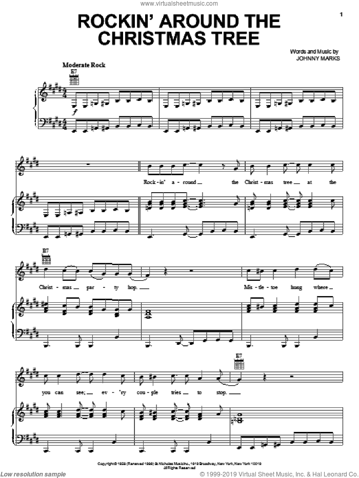 Rockin' Around The Christmas Tree sheet music for voice, piano or guitar by MercyMe, LeAnn Rimes and Johnny Marks, intermediate skill level