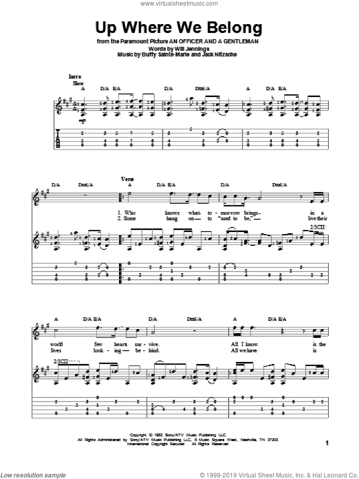 Up Where We Belong sheet music for guitar solo by Joe Cocker & Jennifer Warnes, Buffy Sainte-Marie and Will Jennings, intermediate guitar. Score Image Preview.