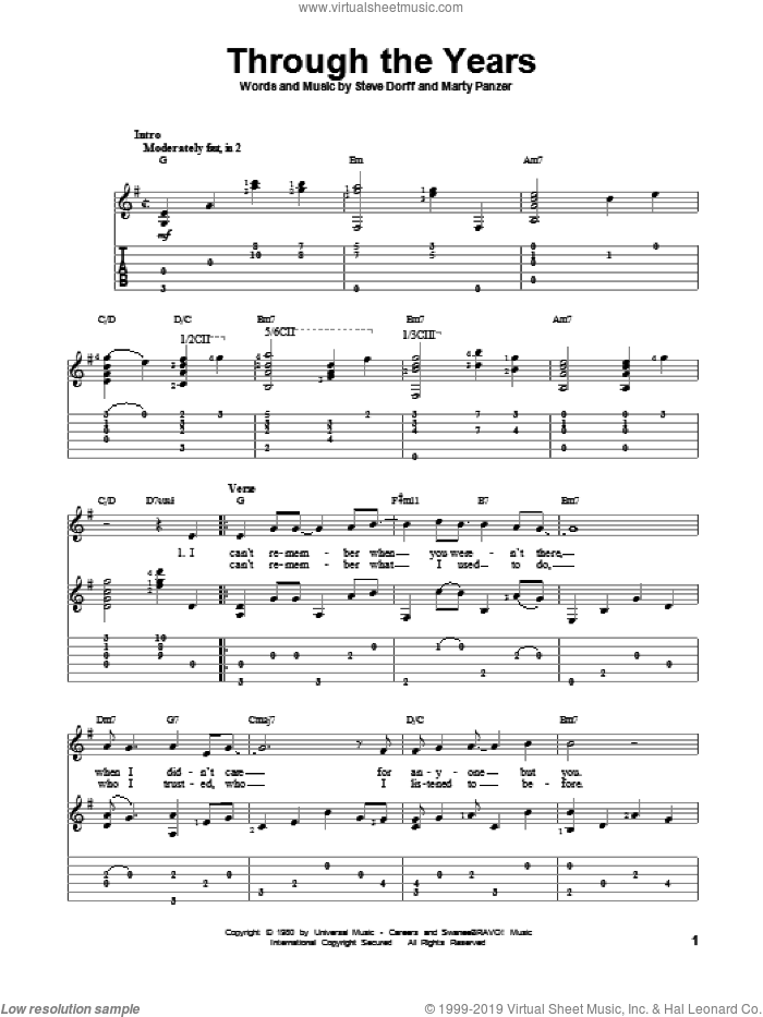 Through The Years sheet music for guitar solo by Steve Dorff, Kenny Rogers and Marty Panzer. Score Image Preview.