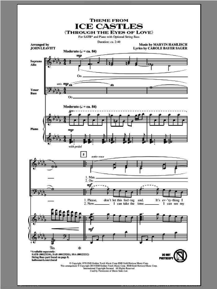 Theme From Ice Castles (Through The Eyes Of Love) sheet music for choir (SATB: soprano, alto, tenor, bass) by John Leavitt, Carole Bayer Sager and Marvin Hamlisch, intermediate