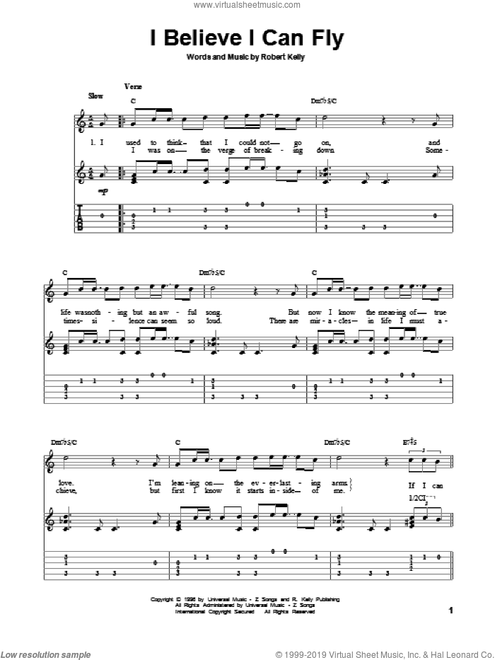 I Believe I Can Fly sheet music for guitar solo by Robert Kelly. Score Image Preview.