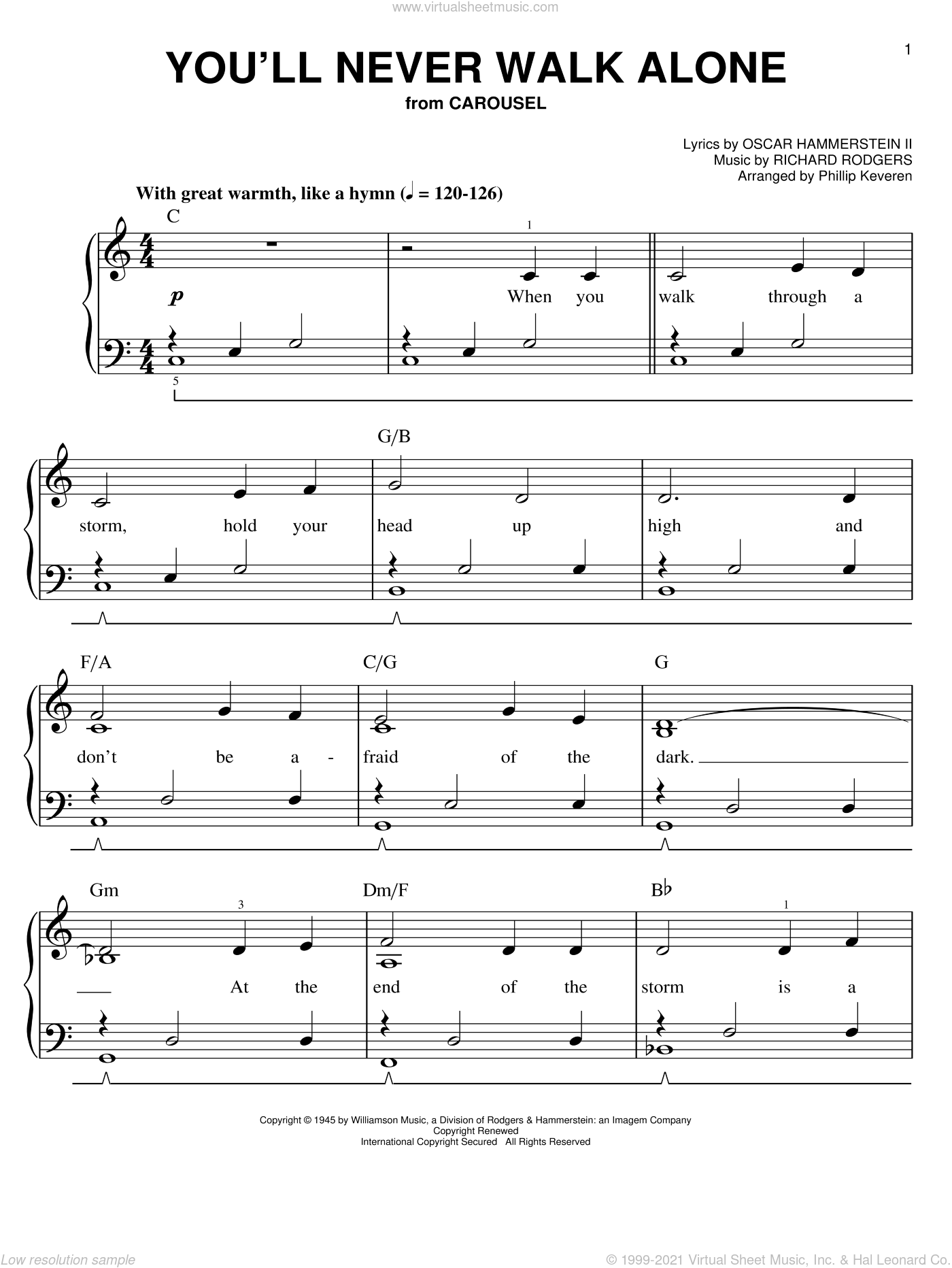 You'll Never Walk Alone sheet music for piano solo by Richard Rodgers, Oscar II Hammerstein and Phillip Keveren, easy skill level