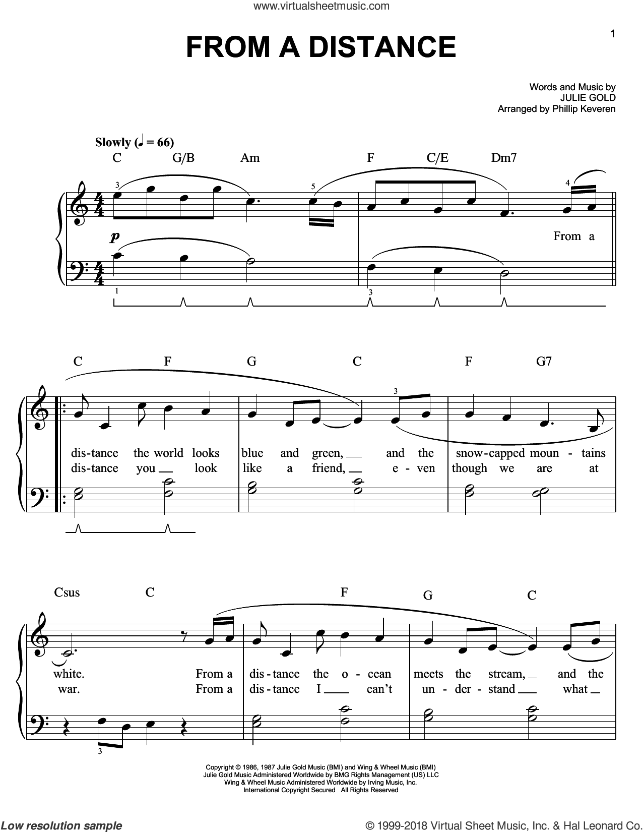 From A Distance sheet music for piano solo by Phillip Keveren, Bette Midler and Julie Gold. Score Image Preview.
