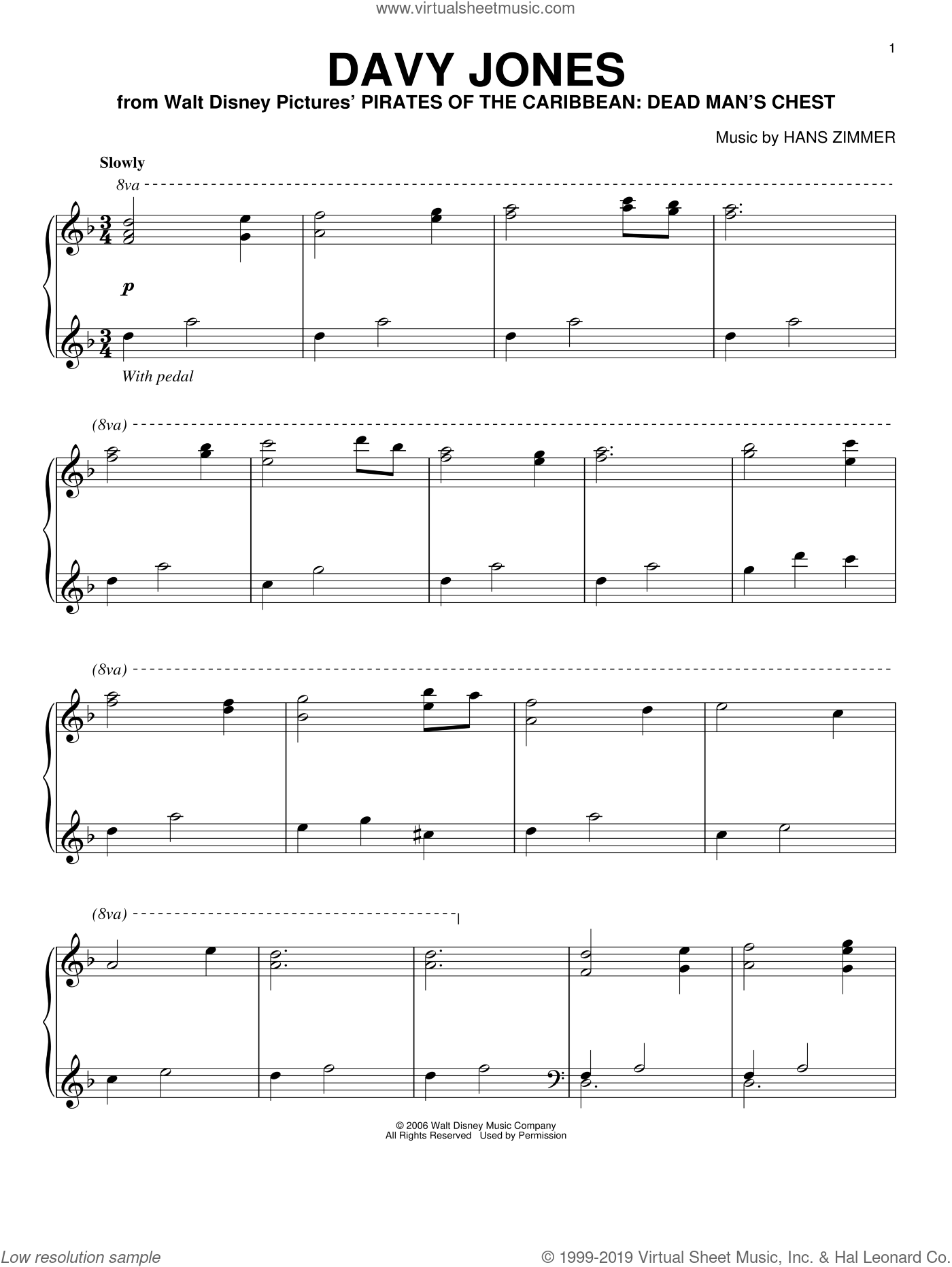 Davy Jones sheet music for piano solo by Hans Zimmer, intermediate skill level