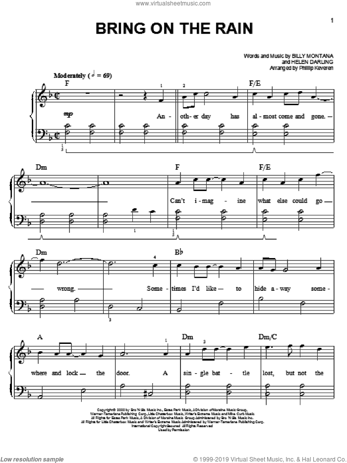 Bring On The Rain sheet music for piano solo by Phillip Keveren, Billy Montana, Helen Darling and Jo Dee Messina with Tim McGraw, easy skill level
