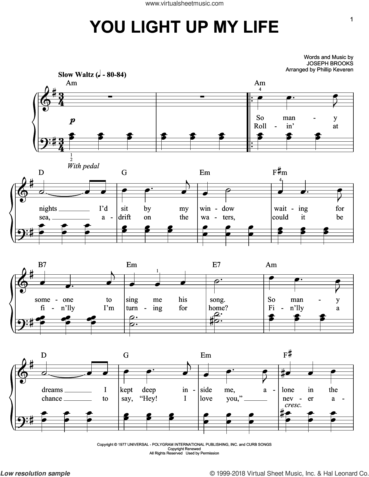 You Light Up My Life sheet music for piano solo by Phillip Keveren, Debby Boone and Joseph Brooks, easy skill level