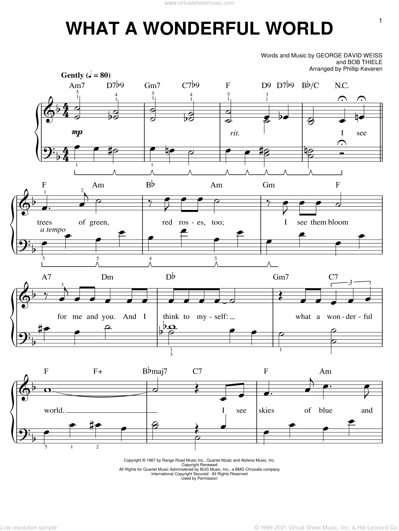 What A Wonderful World sheet music for piano solo by Phillip Keveren, Bob Thiele, George David Weiss and Louis Armstrong, easy skill level