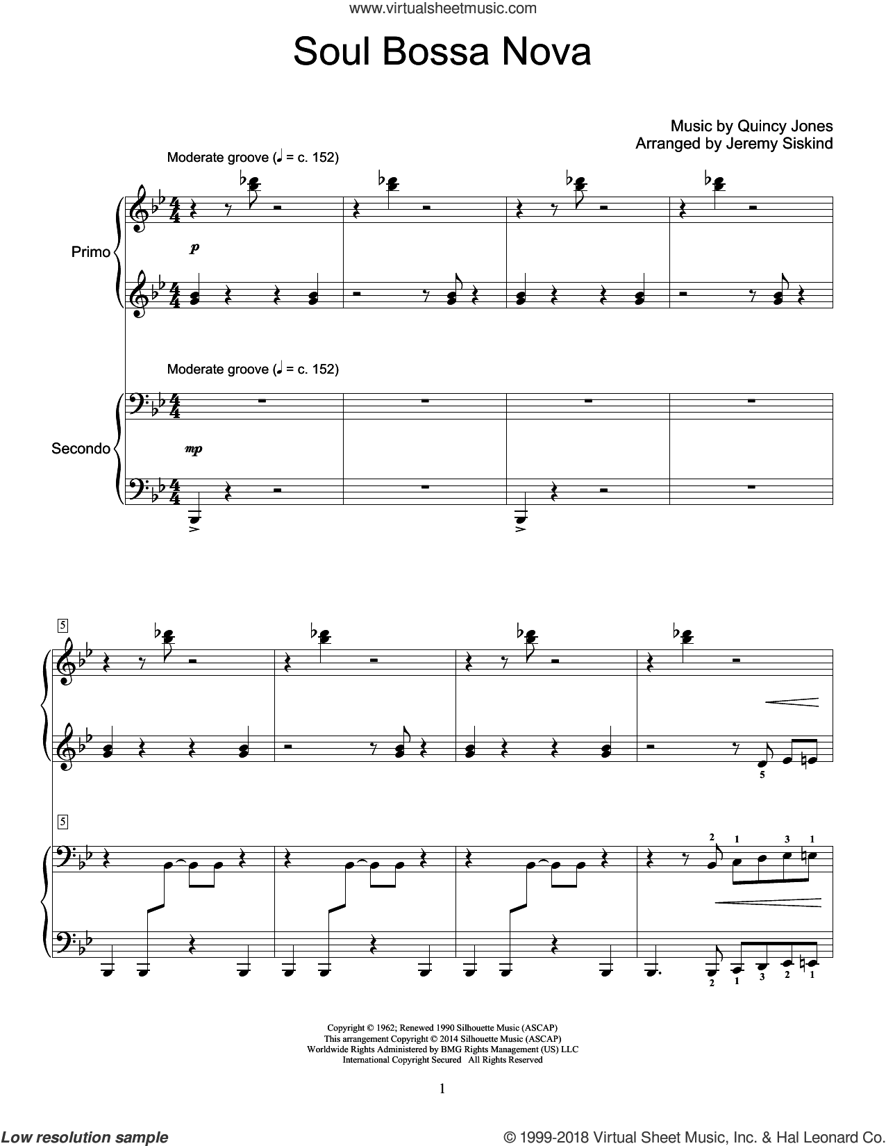 Soul Bossa Nova sheet music for piano four hands (duets) by Jeremy Siskind and Quincy Jones. Score Image Preview.