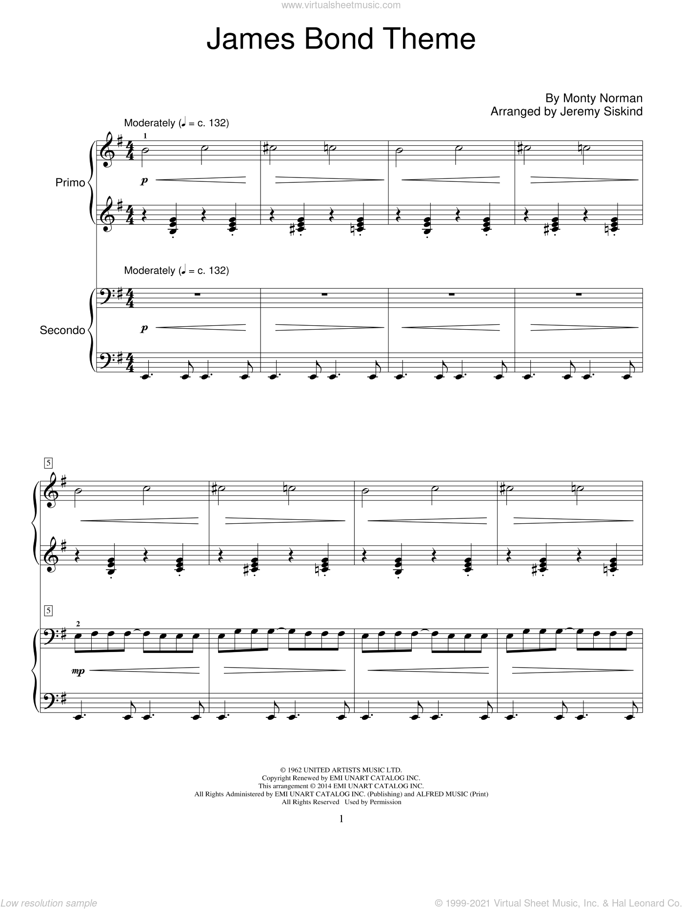 James Bond Theme sheet music for piano four hands (duets) by Monty Norman and Jeremy Siskind, intermediate piano four hands. Score Image Preview.