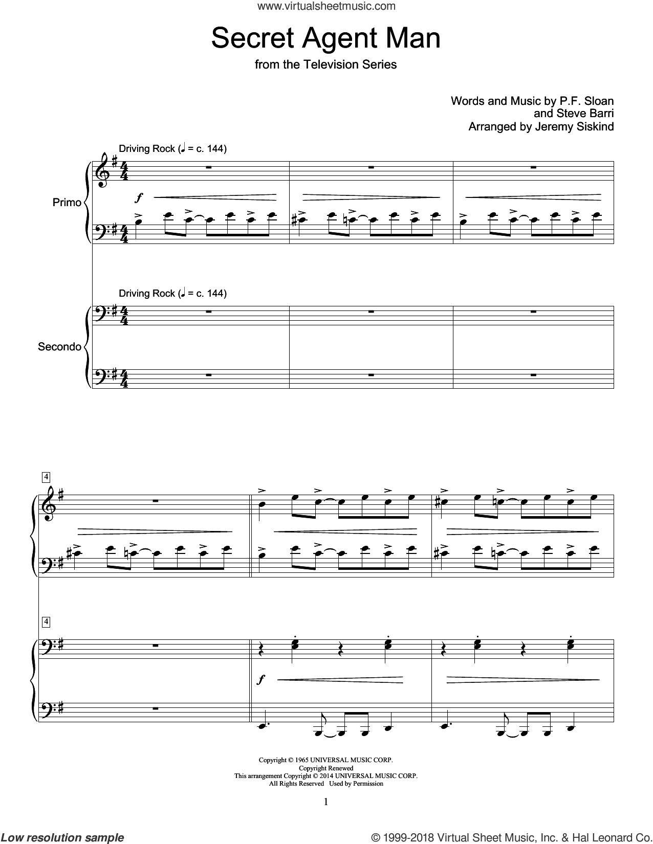 Secret Agent Man sheet music for piano four hands by Jeremy Siskind, Johnny Rivers and Steve Barri, intermediate. Score Image Preview.