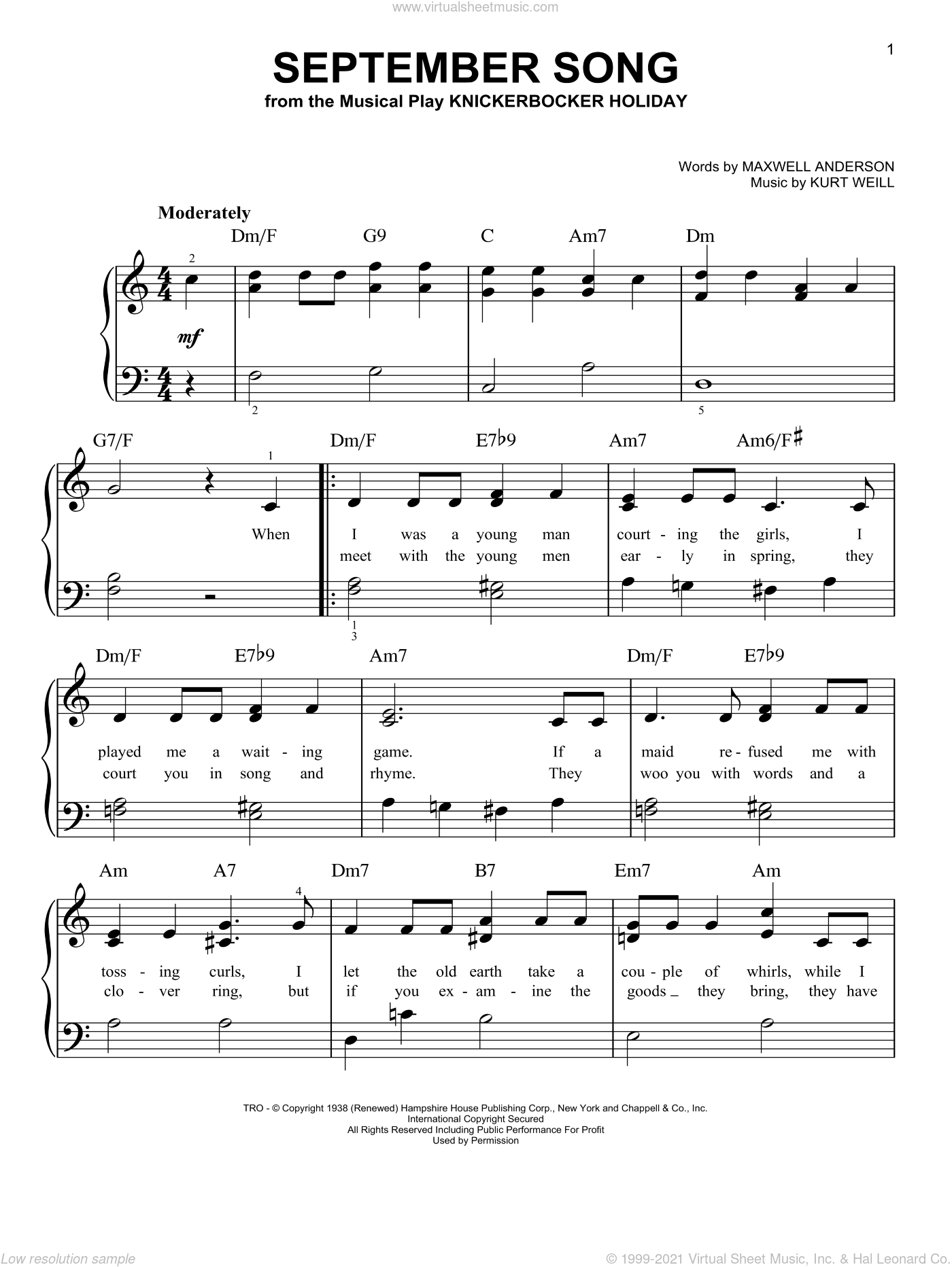 September Song sheet music for piano solo by Kurt Weill and Maxwell Anderson, easy skill level