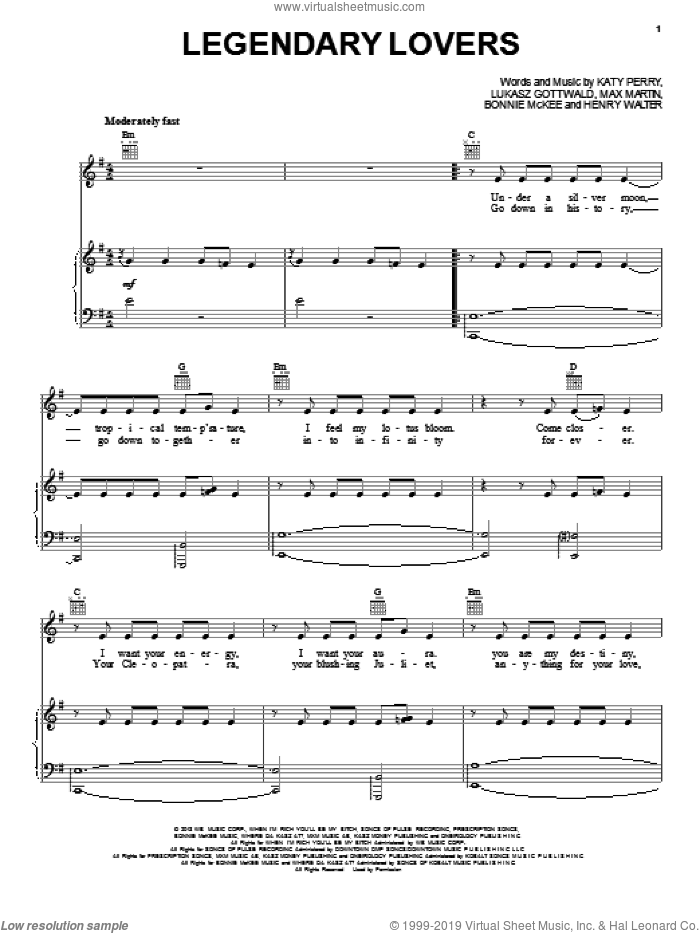 Legendary Lovers sheet music for voice, piano or guitar by Katy Perry, Bonnie McKee, Henry Walter, Lukasz Gottwald and Max Martin, intermediate. Score Image Preview.