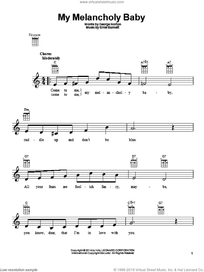 My Melancholy Baby sheet music for ukulele by George A. Norton and Ernie Burnett, intermediate skill level