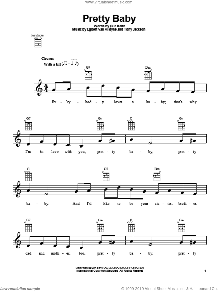 Pretty Baby sheet music for ukulele by Egbert Van Alstyne, Gus Kahn and Tony Jackson. Score Image Preview.