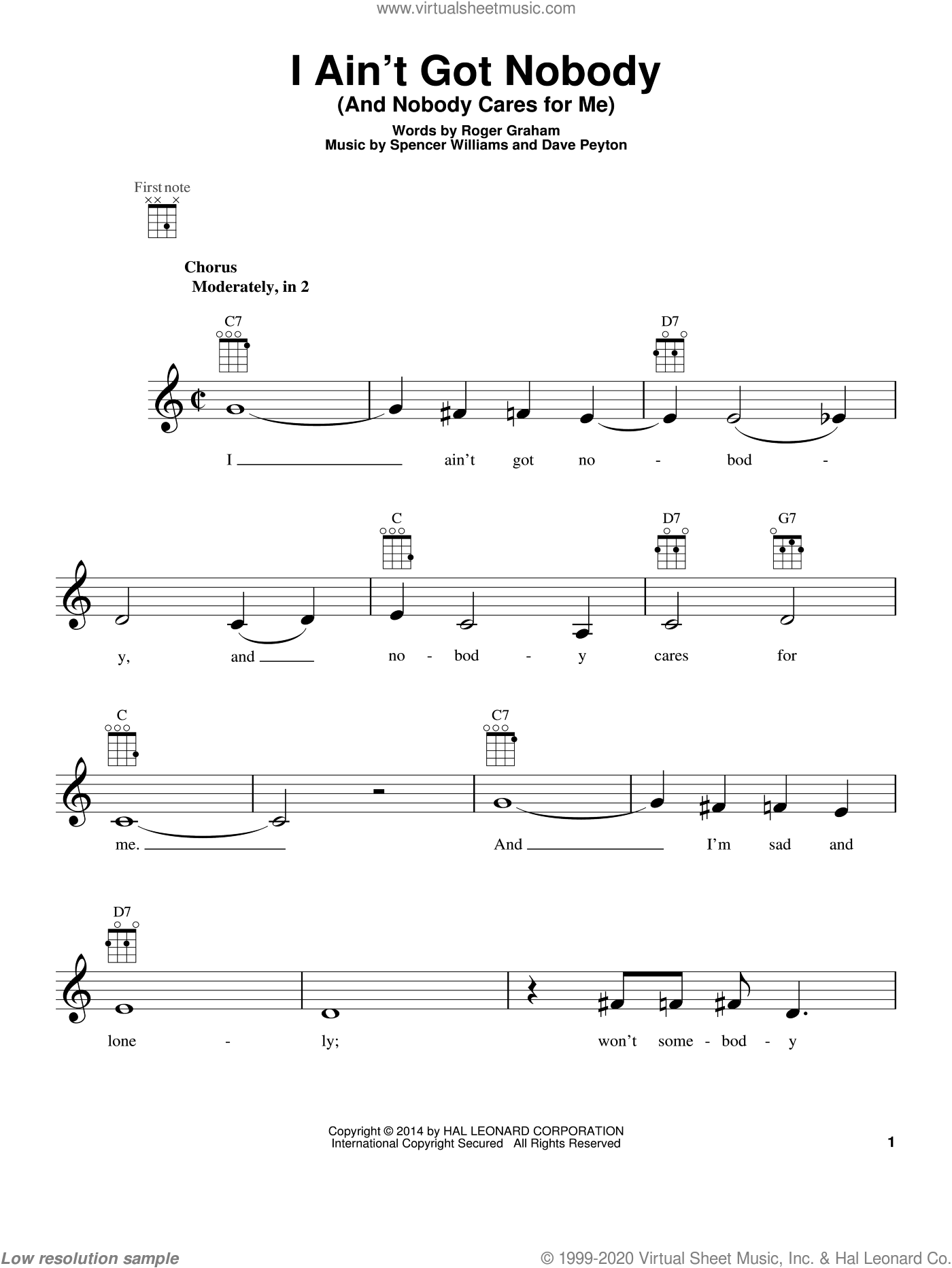I Ain't Got Nobody (And Nobody Cares For Me) sheet music for ukulele by Spencer Williams and Bessie Smith, intermediate. Score Image Preview.