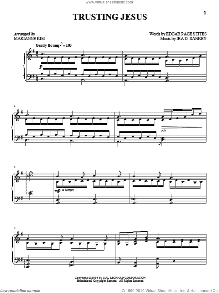Trusting Jesus sheet music for piano solo by Marianne Kim. Score Image Preview.