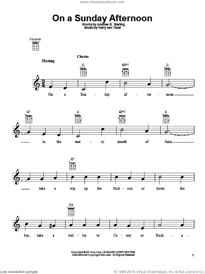 On A Sunday Afternoon sheet music for ukulele by Andrew B. Sterling and Harry von Tilzer. Score Image Preview.