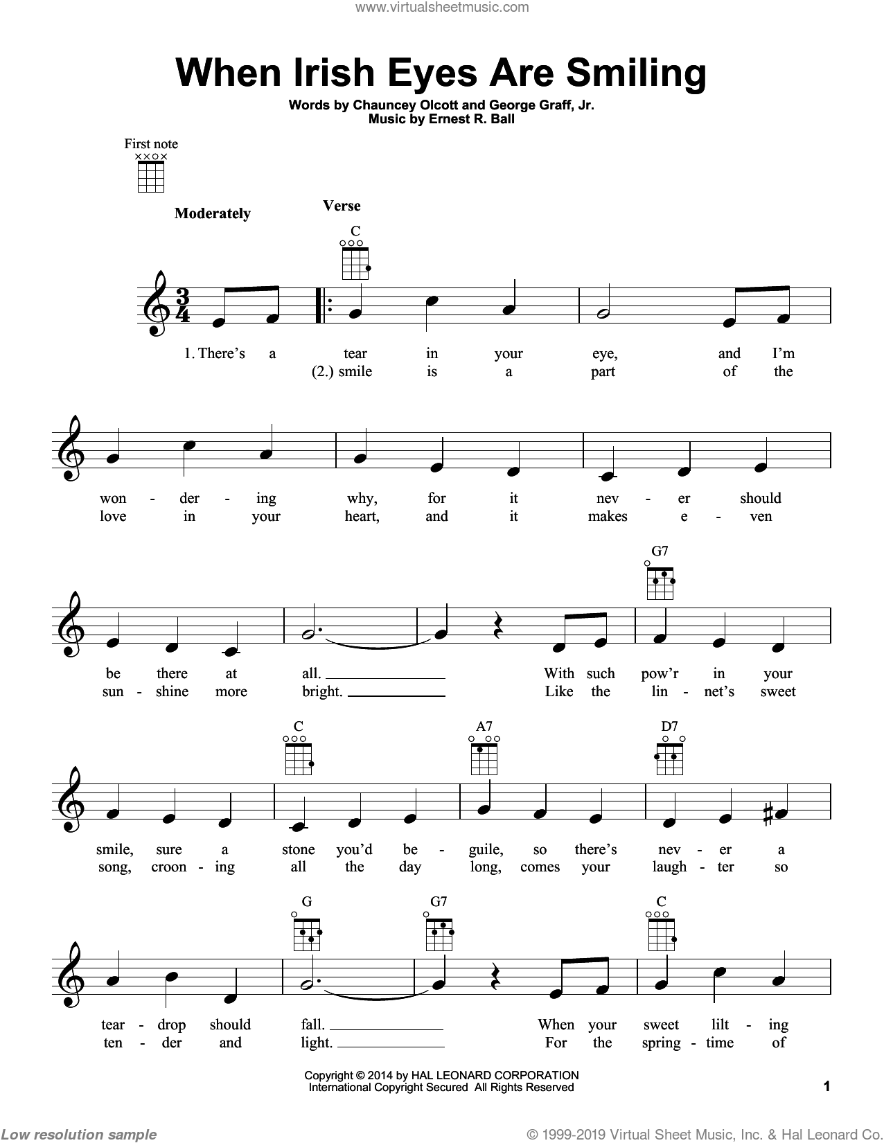 When Irish Eyes Are Smiling sheet music for ukulele by Chauncey Olcott and George Graff Jr., intermediate skill level