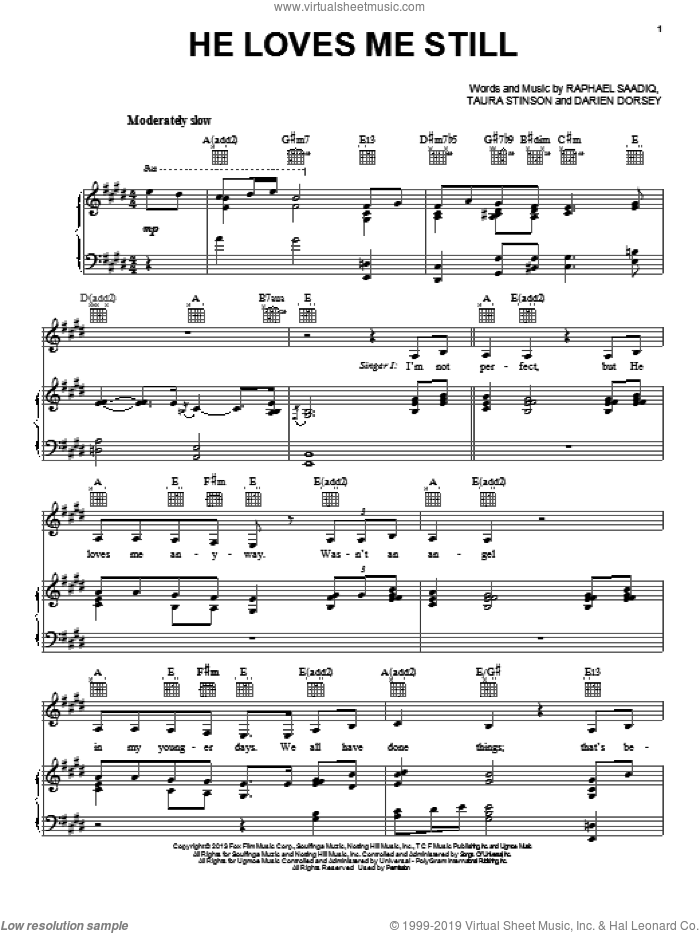 He Loves Me Still sheet music for voice, piano or guitar by Taura Stinson and Raphael Saadiq. Score Image Preview.