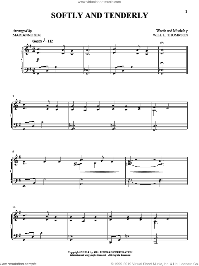 Softly And Tenderly sheet music for piano solo by Marianne Kim and Will L. Thompson. Score Image Preview.