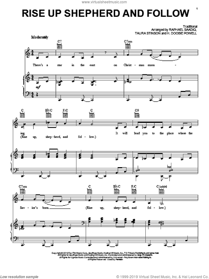 Rise Up Shepherd And Follow sheet music for voice, piano or guitar by Mary J. Blige Featuring Nas